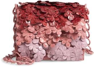 Nancy Gonzalez Gio Floral Embellished Genuine Crocodile Crossbody Bag
