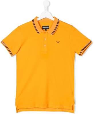Emporio Armani Kids TEEN striped trim polo shirt