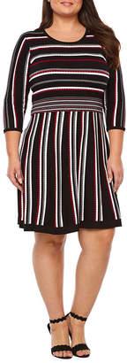 Studio 1 3/4 Sleeve Cowl Neck Sweater Dress - Plus