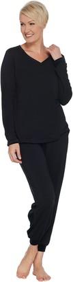 Anybody AnyBody Loungewear Petite Cozy Knit and Velour PJ Set
