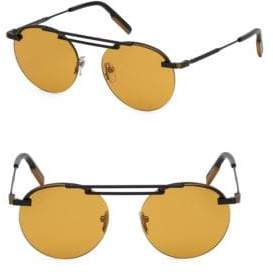 Ermenegildo Zegna Men's 52MM Metal Round Sunglasses - Black Brown