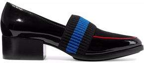 3.1 Phillip Lim Quinn Ribbed-Knit And Satin-Paneled Patent-Leather Loafers