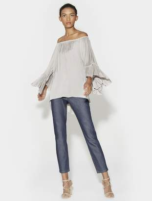 Halston ELBOW SLEEVE BOATNECK TOP WITH RUCHED FLOUNCE