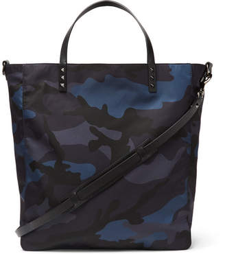Valentino Leather-Trimmed Camouflage-Print Shell Tote Bag