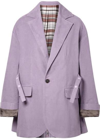 Oversized Belted Cotton-felt Blazer - Lilac