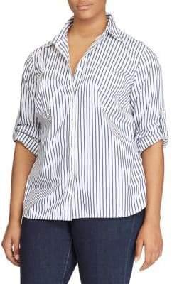 Lauren Ralph Lauren Plus Size Striped Cotton Pocket Shirt