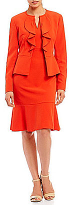Albert Nipon Ruffle-Front 2-Piece Dress Suit $300 thestylecure.com