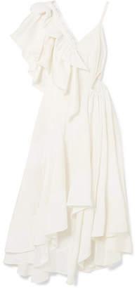 Loewe Cutout Ruffled Jacquard And Crepe Dress - White
