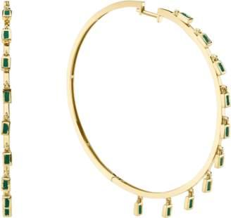 Shay Jewelry Emerald Baguette Dangle Hoops