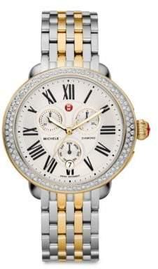 Michele Serein 18 Diamond, 18K Goldplated& Stainless Steel Chronograph Bracelet Watch