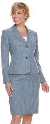 Le Suit Women's Chambray Jacket & Skirt Suit