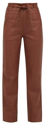 Sea Lidia High Rise Leather Trousers - Womens - Brown