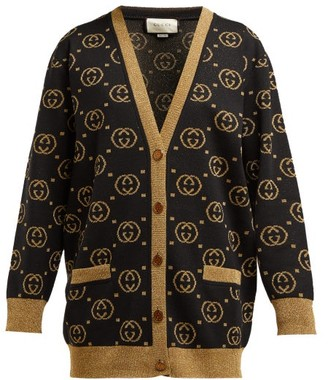 Gucci Gg Jacquard Knit Wool Blend Sweater - Womens - Black Gold