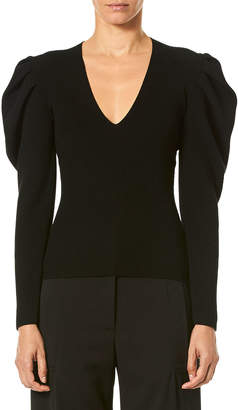 Carolina Herrera V-Neck Puff-Sleeve Fitted Knit Pullover Sweater