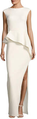 Halston Cap-Sleeve Round-Neck Column Evening Gown w/ Ruffle