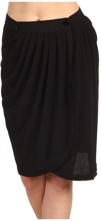 Z Spoke Zac Posen Silk Jersey Skirt (Black) - Apparel