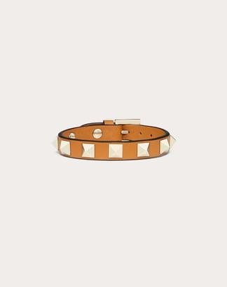 Valentino Garavani Rockstud Bracelet Women Tan Calfskin 100% OneSize