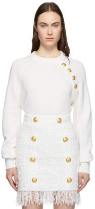 Balmain Off-White Wool and Cashmere Four-Button Sweater