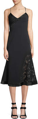 David Koma V-Neck Sleeveless Crepe Mid-Calf Dress with Lace Insets