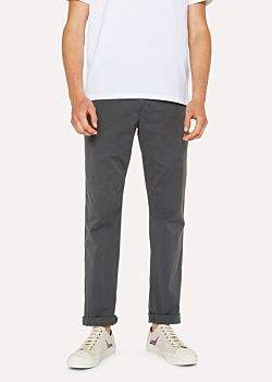 Men's Tapered-Fit Slate Grey Stretch Pima-Cotton Chinos