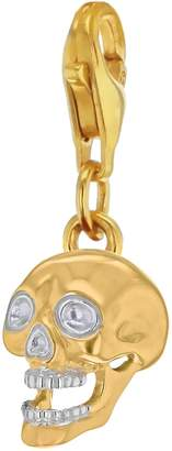 True Rocks - Mixed Metal Skull Charm Gold/Silver