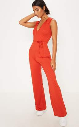 cfdfda8a822 PrettyLittleThing Rust Ribbed Tie Waist Wide Leg Jumpsuit
