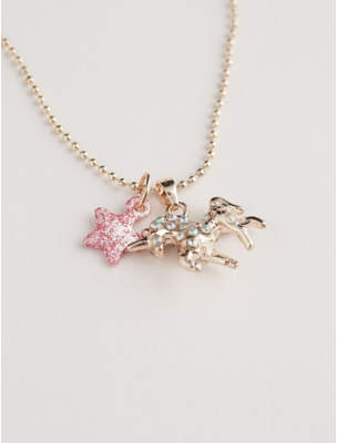 George Gold-Tone Pave Unicorn and Star Pendant Necklace