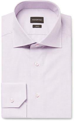 Ermenegildo Zegna Grape Slim-Fit Cutaway-Collar Checked Trofeo Cotton-Poplin Shirt - Men - Grape