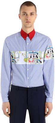 Prada James Jean Striped Cotton Poplin Shirt