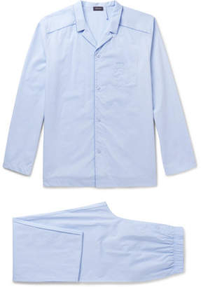Hanro Ryan Contrast-Tipped Cotton-Jacquard Pyjama Set - Men - Light blue
