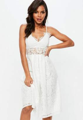 Missguided White Lace Strappy Midi Skater Dress