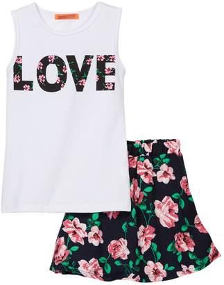 Funkyberry Love Floral Print Tank Top & Skirt 2-Piece Set (Toddler, Little Girls, & Big Girls)