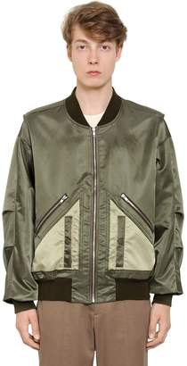 Maison Margiela Satin Bomber Jacket W/ Cut Out Hem
