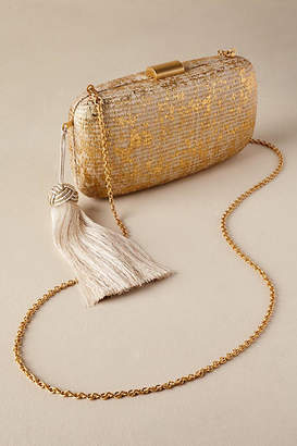 Anthropologie Delphine Straw Clutch