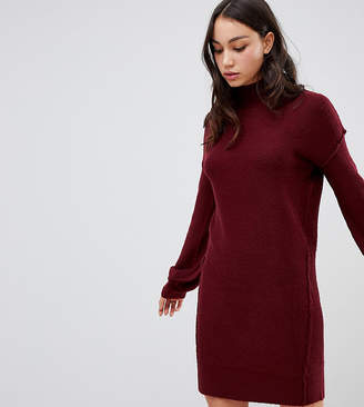 Brave Soul Tall hudson high neck sweater dress with balloon sleeves