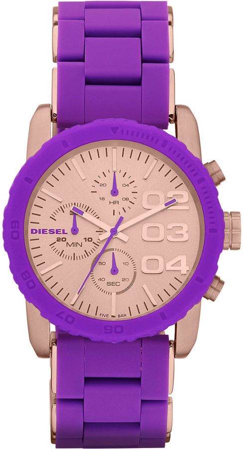 Diesel Watch, Women's Chronograph Purple Silicone-Wrapped Rose Gold Ion-Plated Stainless Steel Bracelet 42mm DZ5361