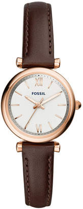 Fossil Women Mini Carlie Brown Leather Strap Watch 28mm