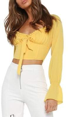 Tiger Mist Ruched Cropped Top