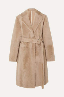 Yves Salomon Belted Shearling Coat - Beige