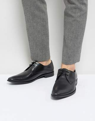 Frank Wright Derby Shoes In Black Leather