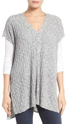 Women's Nydj Cotton Blend Knit Lace-Up Poncho $128 thestylecure.com