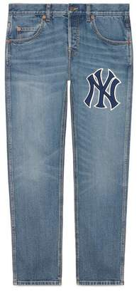 Gucci Men's denim trousers with NY YankeesTM patch
