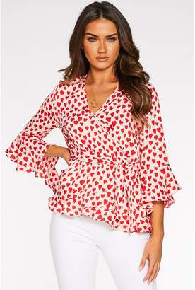 Quiz Sam Faiers Pink and Red Heart Print Wrap Top