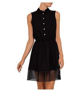 Armani Jeans Cotton Poplin Dress With Colar And Mesh Detail