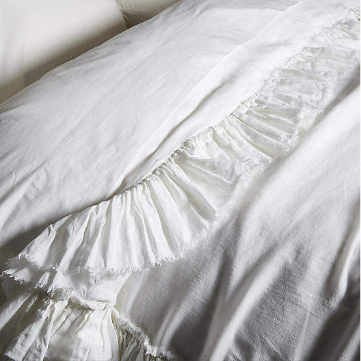 Matteo for One Kings Lane Tattered Linen Duvet Cover - White - King