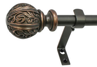 Montevilla 5/8-Inch Leaf Ball Telescoping Curtain Rod Set, 48 to 86-Inch, Vintage Bronze