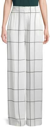 Equipment Windowpane-Print Wide-Leg Pants