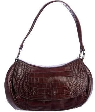 Oscar de la Renta Embossed Leather Shoulder Bag