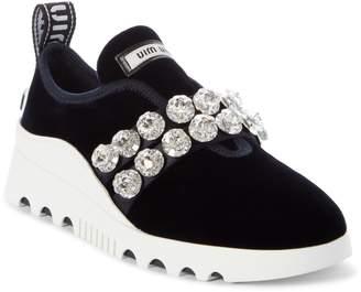 Miu Miu Jewel Strap Slip-On Sneaker
