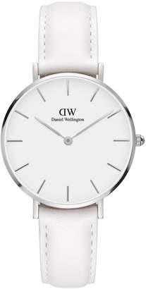 Daniel Wellington Classic Petite Bondi silver white face 32mm case white leather strap ladies watch